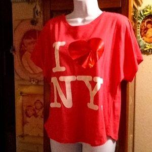 "NWOT ""I LOVE NY"" Hot Pink & White Tshirt"